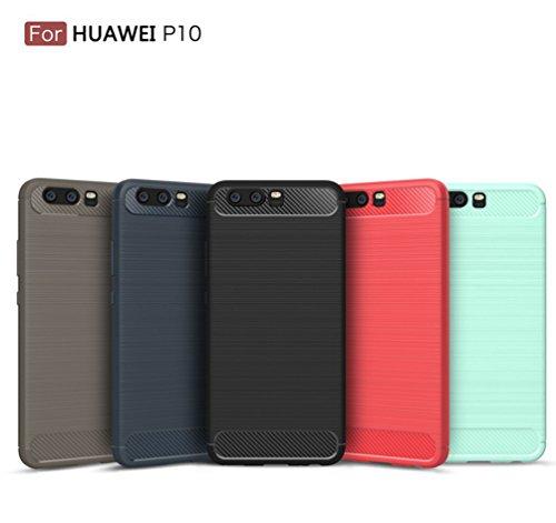 Funda Huawei P10,Alta Calidad Anti-Rasguño y Resistente Huellas Dactilares Totalmente Protectora Caso de Cover Case Material de fibra de carbono TPU Adecuado para el Huawei P10 D