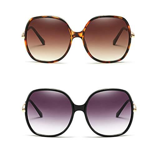 70s Super Oversize Square Sunglasses for Women Vintage Rectangular Plastic Frame (Black + Tortoise, ()