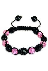 Onyx Pink Shamballa Bracelet | Hip Hop Jewelry | Crystal Bangle Bracelet (by BAGATI CRYSTO)