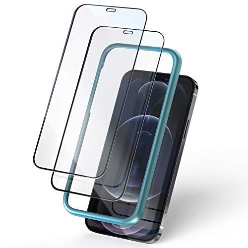KKUYI iPhone 12Pro 用ガラスフィルム iPhone 12用ガラスフィルム 全面保護フィルム 強化ガラスフィルム ガイド枠付き 9H強化ガラスフィルム 貼り付けやすい 高透明感 全面保護 耐衝撃 6.1インチ アイフォン12Pro用/12用 保護フィルム(2枚入り)