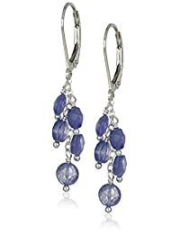 Linear Faceted Tanzanite Coin Multi-Drop Earrings in Sterling Silver