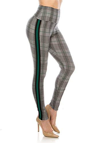 (ALWAYS Legging Women Track Pants - Premium Soft Stretch Buttery Checkered Plaid Houndstooth Racing Stripe Green Regular)