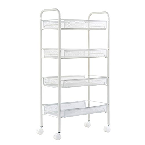 Shelving Solutions Rolling Cart, Portable Wire Mesh Storage Cart, 4 Tier (Mesh Shelving Wire)