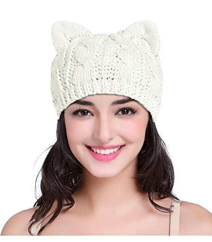 (V28 Women Girls Boys Teens Cute Cat Ear Knit Cable Rib Xmas Hat Cap Beanie Kittenear White Medium)
