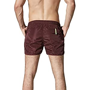 Neleus Mens Runner Athletic Beach Shorts Swimming Trunks with Pockets, 708 Burgundy & Red, USA M , Asia XL(Fit Waist:32-34 inches)