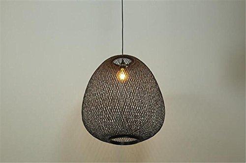 LUCKY CLOVER-AChandelier Ceiling Pendant Light Shade Hanging Lamp Lattice Wicker Rattan Handmade Gift Pear Shape Night Light , black - Light Chandelier Black Lacquer