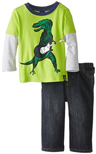 Charlie Rocket Baby Boys' Guitar Dino Twofer Tee with Denim Pant, Limeade, 12 Months