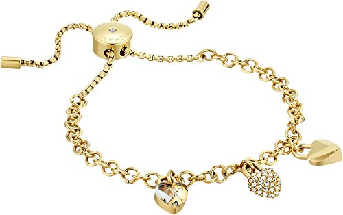 Michael Kors Women's Logo Love Trio Heart Charm Slide Bracelet Gold One (Logo Gold Charm)