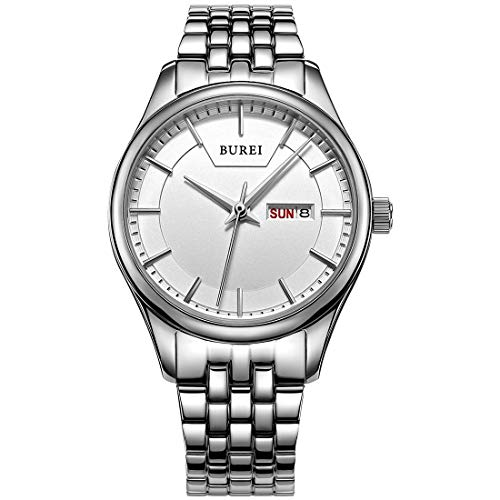 (BUREI Women Watches Elegant Ladies Analog Quartz Wrist Watch White Dial with Day and Date Display Stainless Steel)