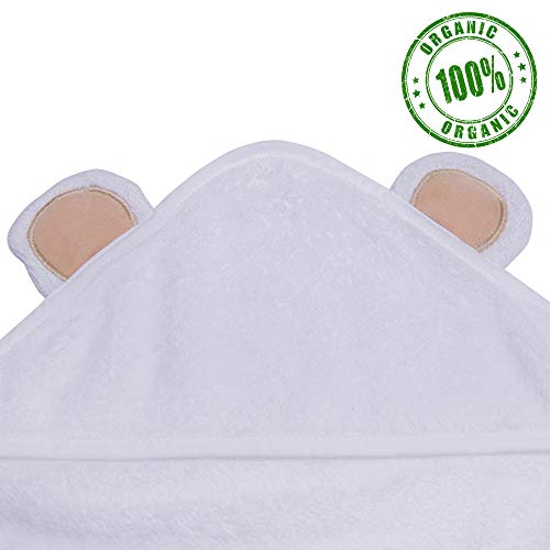 "Love, Miles Baby Hooded Towel for Kids (35"" x 35"") Organic Bamboo Cloth 