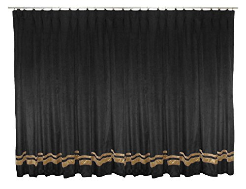 SAARIA Black Luxury Backdrop velvet pinch pleated drapes with gold strip Window Treatments stage events show Banquet Home Theater curtain 12 ft W X 12 ft H by Saaria Curtain