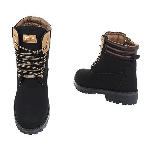 Damen Herren Unisex | leicht Gefütterte Stiefeletten | Outdoor Worker Boots | Profilsohle Winterschuhe | Schnürstiefel Outdoor |Übergang Schuhe Übergrößen | Schuhcity24 Schwarz