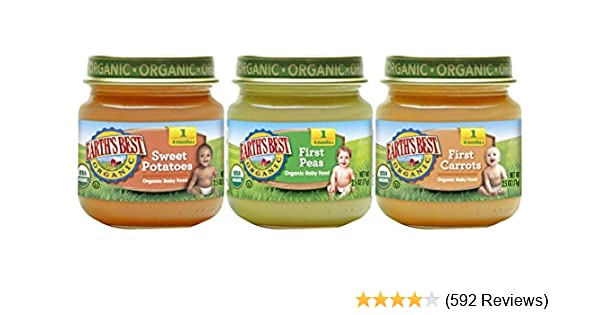 010ba977c Earth's Best Organic Stage 1 Baby Food, My First Veggies Variety Pack, 2.5  oz. Jar (12 Count): Amazon.com: Grocery & Gourmet Food