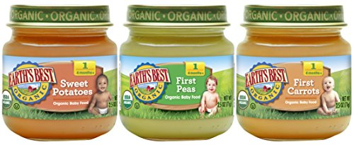 Earths Best Organic Stage 1 Baby Food, My First Veggies Variety Pack (Carrots, Peas, and Sweet Potatoes), 2.5 Ounce Jars, Pack of 12