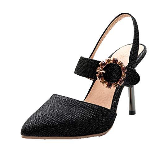 - Aunimeifly Ladies High Heel Sandals Sequins Rhinestones Buckle Stiletto Wedding Pointed Pumps Shoes Black