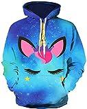 HaniLav Kids Novelty Hoodies 3D Printed Sweatshirt Pullover Pocket,Blue Galaxy Unicorn,11-12T