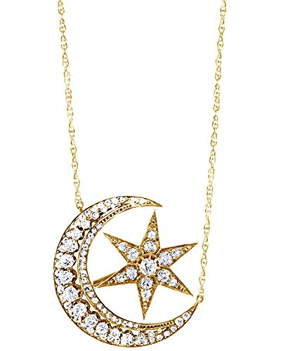 Wishrocks Round Cut White Cubic Zirconia Crescent Moon and Star Pendant Necklace in 18K Gold Over Sterling Silver