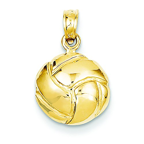 14K Yellow Gold Volleyball Charm Pendant ()