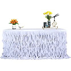 Leegleri 6ft White Curly Willow Table Skirt Tulle Table Skirt for Rectangle or Table Round Table, Tutu Table Skirt for Baby Shower,Party,Weeding Decoration