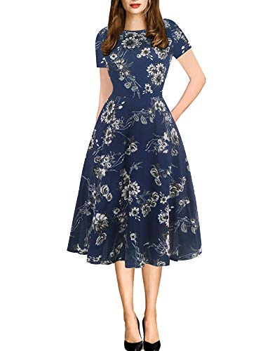 oxiuly Women's Vintage Round Neck Floral Casual Pockets Tunic Party Cocktail Cotton Blend A-Line Summer Dress OX262 (XL, NB ()