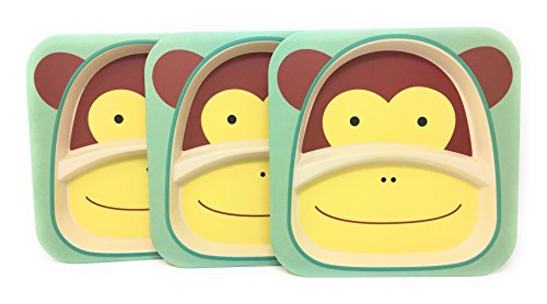Bamboo Plates - 3 Pack Eco Friendly Kids Plates - Divided & Stackable - Choice of Monkey, Elephant or Giraffe Pattern (Monkey)