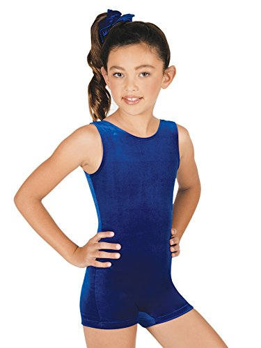 Basic Unitard (Child Basic Velvet Shorty Unitard,G506CBLKL,Black,Large)