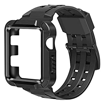 baozai Compatible with Apple Watch Band 42mm Men, Metal Rugged Protective Case with Black Band for Apple Watch 42mm Series 3 Series 2 Series 1 (Black)