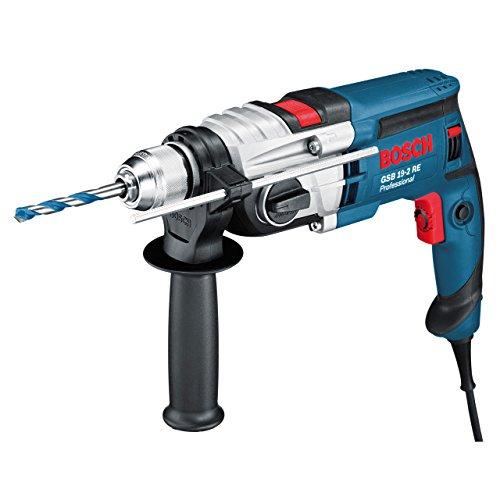 Bosch Professional GSB 19-2 RE Schlagbohrmaschine (2-Gang, 13 mm Schnellspannbohrfutter, Tiefenanschlag, Zusatzhandgriff, 850 W, Koffer) blau, 060117B500