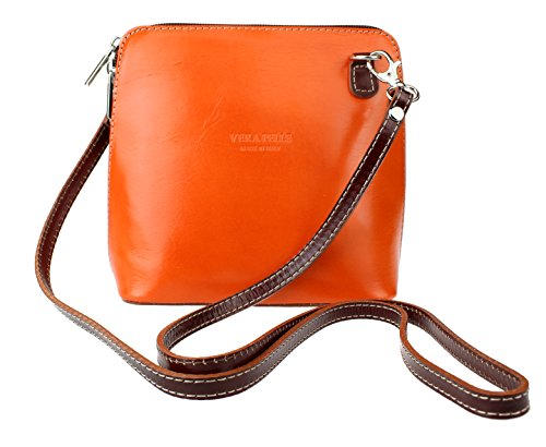 Orange Girly para Bolso Handbags mujer Piel cruzados Chocolate de nBAn0