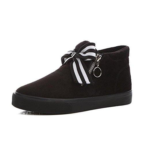 [RSWHYY] レディース ブーツ 靴 冬 厚手 学生スタイル サイドファスナー 保温 カジュアル 超大リボン ムートンブーツ