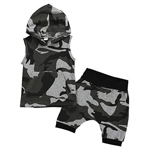 heavKin-Clothes 6 Months-4Years Children's Kids Baby Boy Sleeveless Hooded Vest Shirt T-Shirt Tops + Shorts Camouflage Set (Camouflage, 6-12 -