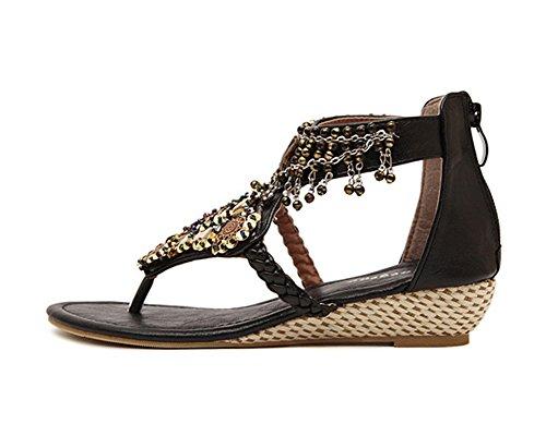 d562fe10af4 ... Sandalias Para Mujer Zapatos Con Cuña Abalorios Decorated De Bohemia de  clip del dedo del pie