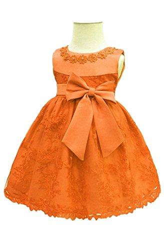 HX Baby Girl's Newborn Bowknot Gauze Christening Baptism Dress Infant Flower Girls Wedding Dresses 13 Color (6M/6-9 Months, Orange) ()