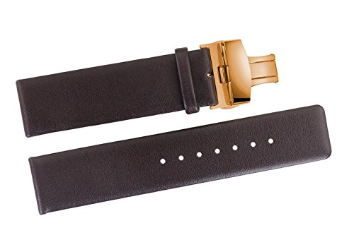 20mm Luxury Chocolate Brown Leather Replacement Watch Straps Smooth Thin Cow Hide without Stitching with Rose Gold Butterfly Clasp - Versace Real Gold Is