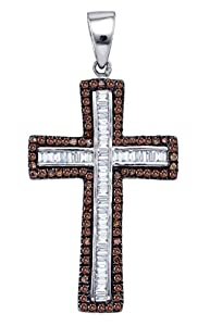 Diamond Pendant Sterling Silver Cognac-brown Colored Cross Outline 1-1/10 Cttw(I2/i3, i/j)