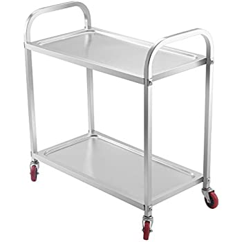 Exceptional Mophorn 2 Shelf Stainless Steel Cart With Storage Utility Cart On Wheels  Heavy Duty Kitchen Cart