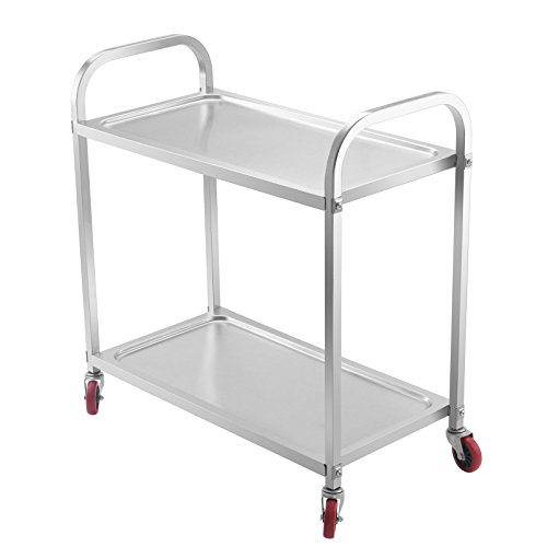 Happybuy Utility Cart 2 Shelf Utility Cart on Wheels 220Lbs Stainless Steel Cart Commercial Bus Cart Kitchen Food Catering Rolling Dolly (2shelf)