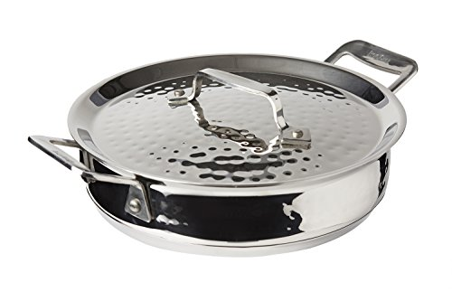 Bon Chef 60022HF Stainless Steel Induction Bottom Cucina Round Casserole with Lid, Hammered Finish, 1-3/4 quart Capacity, 8-5/16