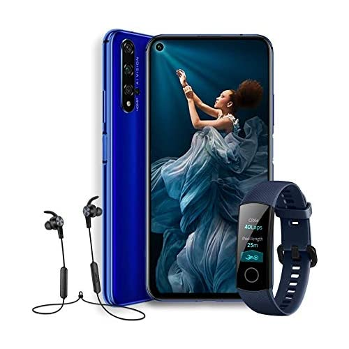 chollos oferta descuentos barato HONOR 20 Smartphone Android 9 6 26 FHD 48MP 16MP 2MP 2MP frontal 32MP 6 GB de RAM 128 GB memoria batería 3750 mAh color Azul Honor Band 4 Honor Sport Bluetooth Earphones