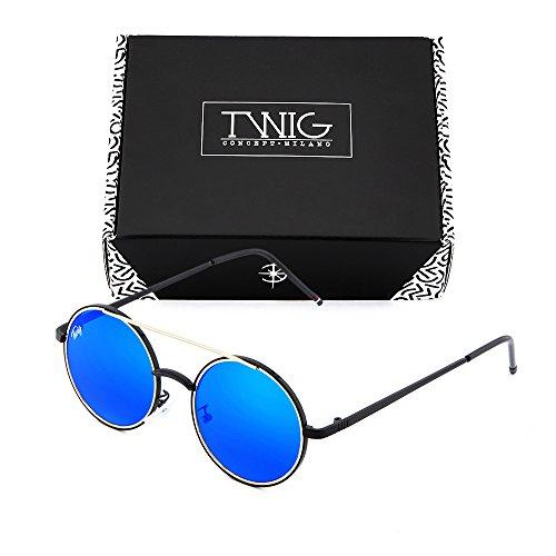 redondo espejo sol Azul TWIG hombre Negro GIOTTO mujer Gafas de ZIXnqHaX