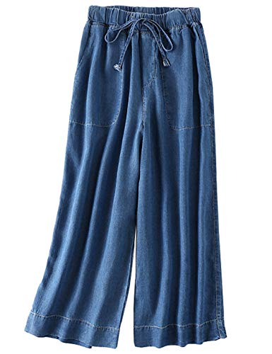 Yimoon Women's Soft Tencel Denim Casual Wide Leg Pants Elastic Waist Palazzo Long Trousers with Drawstring (Dark Blue, Large)