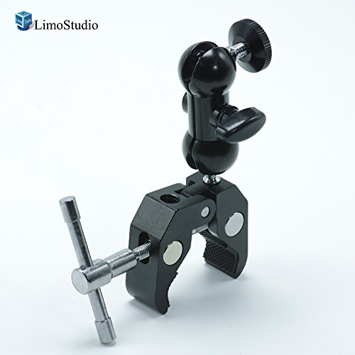 LimoStudio Cool Rotating Ball Head Multi-Purpose Dual Ball Adapter with Heavy Duty Clamp, Universal 1/4 Inch Screw for Camera, Camcorder, Light and Microphone, with SuperFiber Cleaning Cloth, AGG2461 by LimoStudio