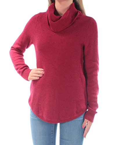 Lucky Brand Womens Knit Ribbed Trim Turtleneck Sweater Red XS
