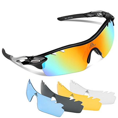 HODGSON Polarized Sports Sunglasses with 5 Interchangeable Lenses for Men Women Cycling Baseball Running Glasses, TR90 Unreakable - Black