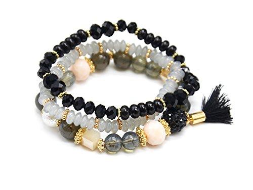 BC2317E - Lot de 3 Bracelets Perles et Pierres Elastique avec Shamballa Strass et Pompon Noir