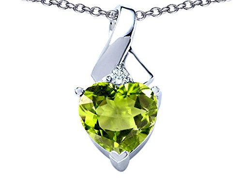 Star K 8mm Heart Shape Simulated Peridot and Cubic Zirconia Ribbon Pendant Necklace Sterling (Cubic Zirconia Ribbon Pendant)