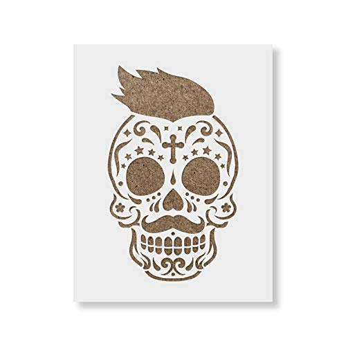 Sugar Skull James Stencil Template for Walls and Crafts - Reusable Stencils for Painting in Small & Large Sizes]()