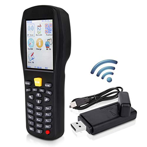 Gimatic 2.4GHz Wireless & USB2.0 Wired 1D 2D QR Barcode Scanner Collector Portable Data Terminal Inventory Device Cordless Bar Code Reader Store, Warehouse, Supermarket 2.6'' Screen