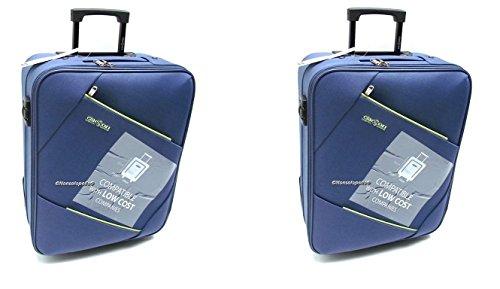 Coppia Trolley Easyjet idonei cm.50x40x20 Trolley Bagaglio a Mano cabina ,Offerta set 2 Trolley Ryanair idoneo cm.55x40x20,2 Trolley Easyjet Clacson misure effettive cm.49x39x19 (BLU/BLU)