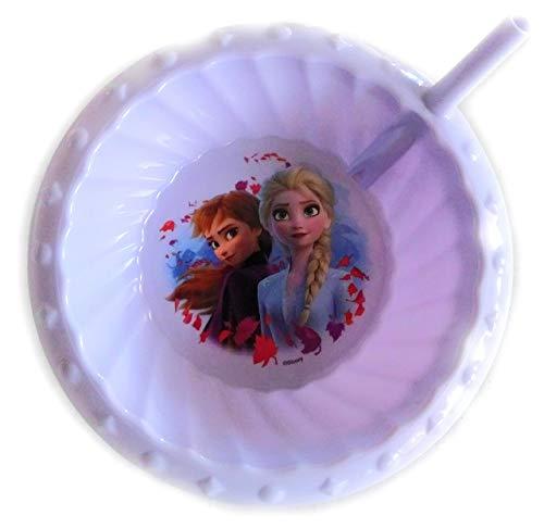 Zak! Designs Frozen Anna & Elsa Cereal Bowl with Straw